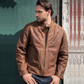 2017 Retro Vintage Brown Men Genuine Leather Motorcycle Jacket Real Thick Cowhide Slim Fit Men Short Biker Coat FREE SHIPPING