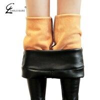 CHRLEISURE Fashion Winter Leather Leggings Pants Women Warm High Waist Leggins Thick Velet PU Leather Legging