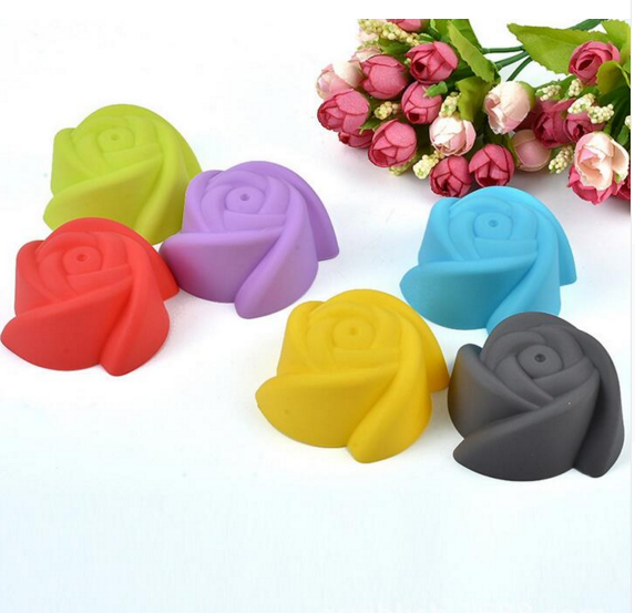 Silicone 7CM Muffin Cup 12pcs/lot Multiple Colors Rose Shape Silicone Cake Mold Pudding Cup Jelly Mold Bakeware Soap Mold