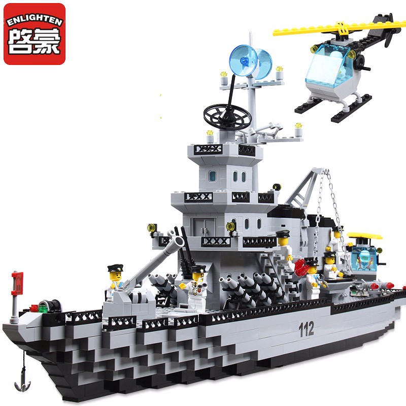 Opplys byggeblokker Militær cruiser modell Kompatible Legoinglys blokker Jenter og gutter Educational Blocks Leker for barn