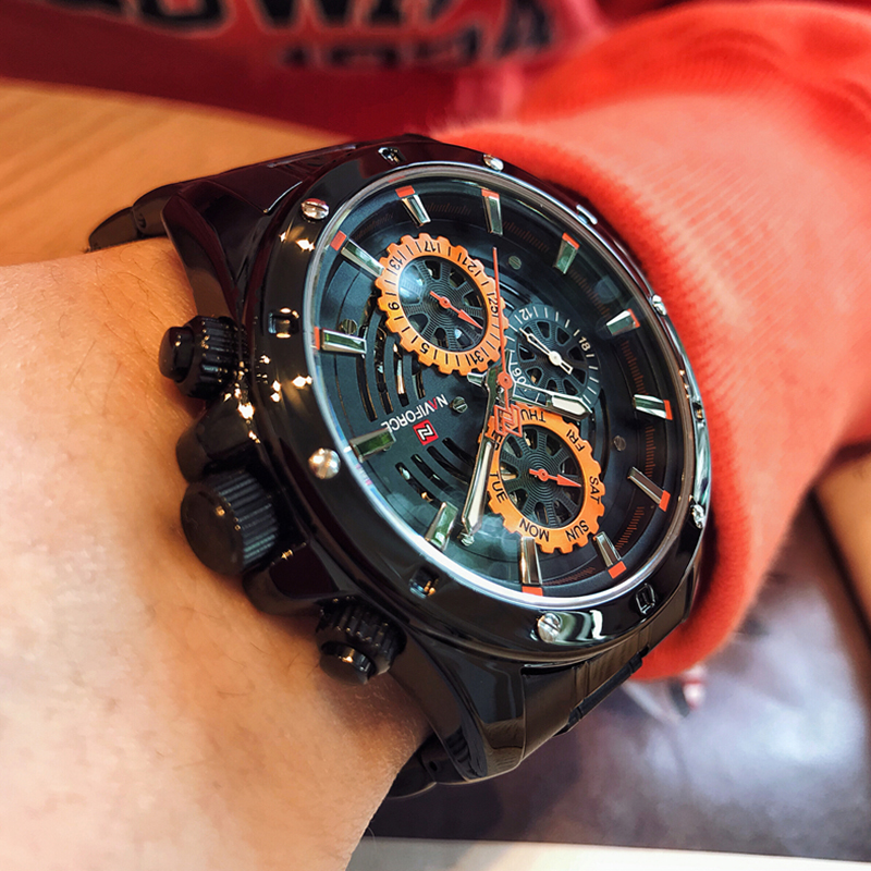 Original NAVIFORCE Multifunction Quartz WristWatches Men Sports Watches Waterproof Full Steel Business Clock Relogio Masculino