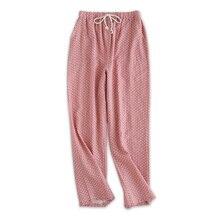 Марлевые хлопковые домашние штаны, женские штаны для сна, милые Мультяшные пижамные штаны, качественные женские пижамы в горошек, женские брюки