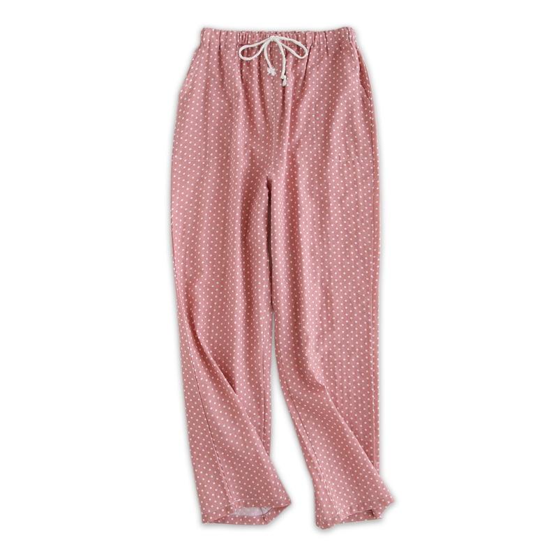 100% Gauze Cotton Home Pants Women Sleep Bottoms Cute Cartoon Pajama Pants Quality Polka Dot Women Pijama Mujer Trousers