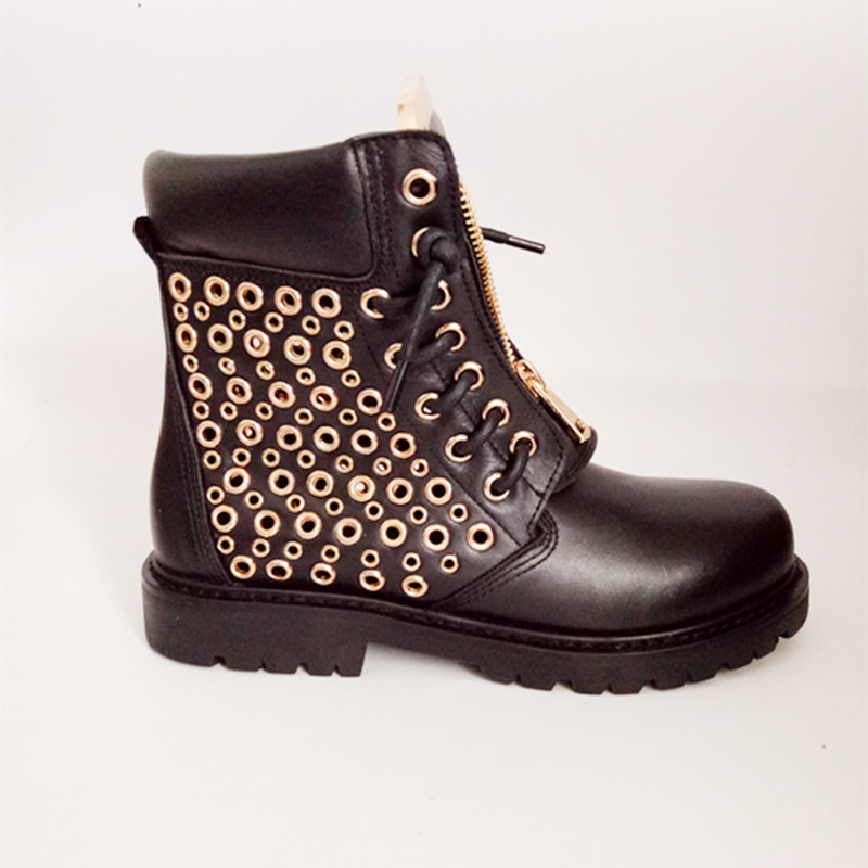 newest woman ankle boots round toe studded riding boots high quality leather boots flat short boots black beige