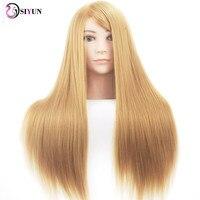 Factory Outlet 26 inch Syntetyczne Blond Szkolenia Manekin Głowy Głowy Manekina na Salon Fryzjerstwo Stylizacja Włosów Szkoły Modelu