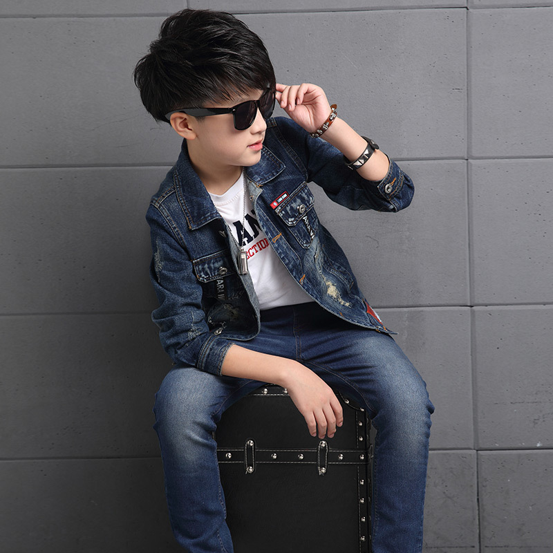 Children Sets For Boy 2018 New Casual Denim Clothing Suits Big Boys Autumn Suit Back to School Outfits Jackets Coats + Jeans 12 kimocat boy and girl high quality spring autumn children s cowboy suit version of the big boy cherry embroidery jeans two suits