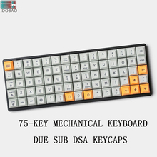 PBT Due Sub 75-KEY ALUMINUM MECHANICAL Mini KEYBOARD DSA Keycaps Pc Gamer Logitech Gaming Mouse Art Gh60 Xd60 Tada68 Teclado keycaps 60 pbt inside printing ingraved for gh60 poker mechanical gaming keyboard keycaps
