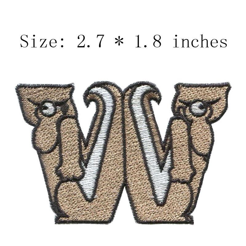 45c7dfa44d94 W letter 2.7wide DIY new fonts embroidery patch for feet patch/back  patch/motorcycle patch
