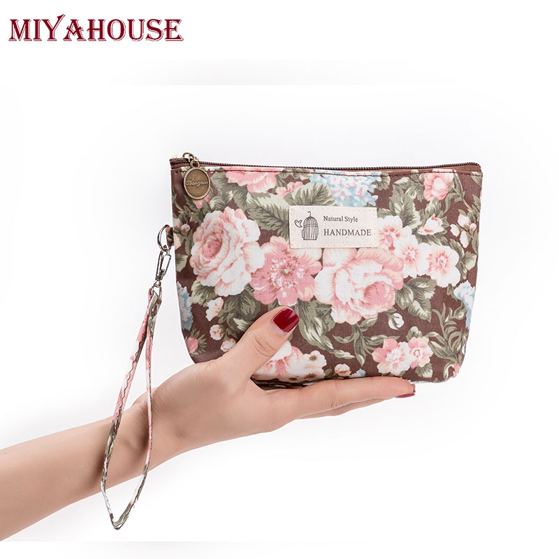 Miyahouse Female Makeup Bags Vintage Floral Cosmetics Pouches For Travel Ladies Pouch Women Portable Zipper Cosmetic Bag