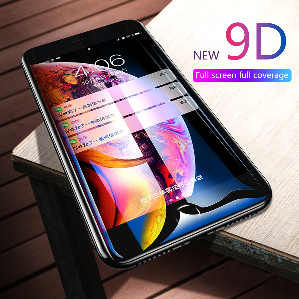 5pcs 9D Tampered Protective Glass For iphone 7 Plus Screen Protector Glass On For iphone XS Max XR X Glass For iphone 8 Plus