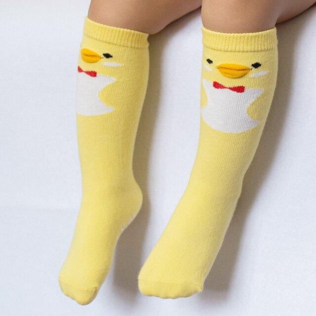 35315dcb4 Kids Cotton Socks Knee High Toddler Sock Anti Slip Leg Warmer Baby Boy Girl  Children Fox Cat Duck Owl Rainy Pattern Long Socks