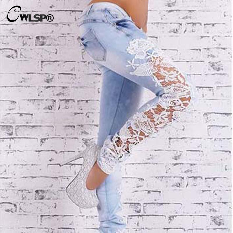 Әйелдер Fashion Side Lace Jeans Hollow Out Skinny Denim Jeans - Әйелдер киімі - фото 2
