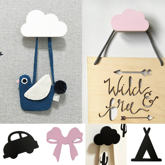 nordic cactus wall clothes hooks wooden kids room wall sticker
