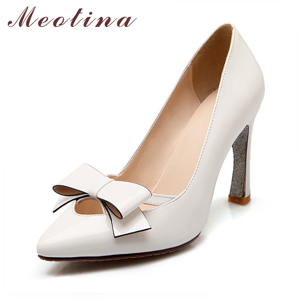 Large Size 9 10 Elegant Lady's Pumps Spring Pointed Toe Wedding Stiletto High Heels Female Bow Knot White Shoes 3P0506