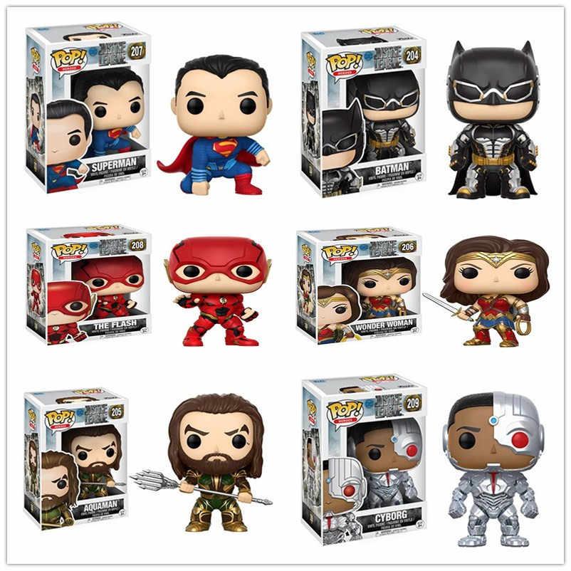 Funko POP Justice League 10 см Аквамен и Бэтмен Супермен Чудо-женщины киборг ПВХ фигурка игрушки для детей подарок на день рождения
