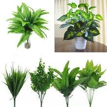 Растения в помещении, на открытом воздухе, искусственные цветы, листья, куст, домашний офис, декор для сада, искусственные зеленые листья, украшение для растений