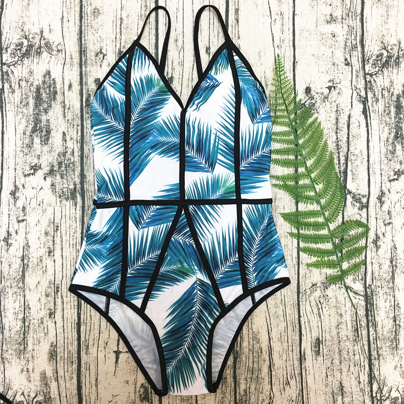 Hot Vintage Floral Leaf Print One Piece Swimsuit Swimwear Women 2019 For Girls High Cut Bathing Suit Push Up Brazilian Trikini in Body Suits from Sports Entertainment
