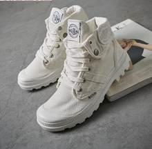 e2551fa9c4b89 2018 Moda High Top Sneakers Sapatas de Lona Das Mulheres Sapatos Casuais  Sapatos Brancos Femininos Plana Cesta Lace Up Sólidos F..