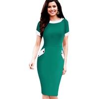 Plus Size Kobiet Dorywczo Krótki Rękaw Stałe Przyciski Bodycon Suknie Eleganckie Biuro Panie Wokół Szyi Pencil Dress Z Kieszeni 832