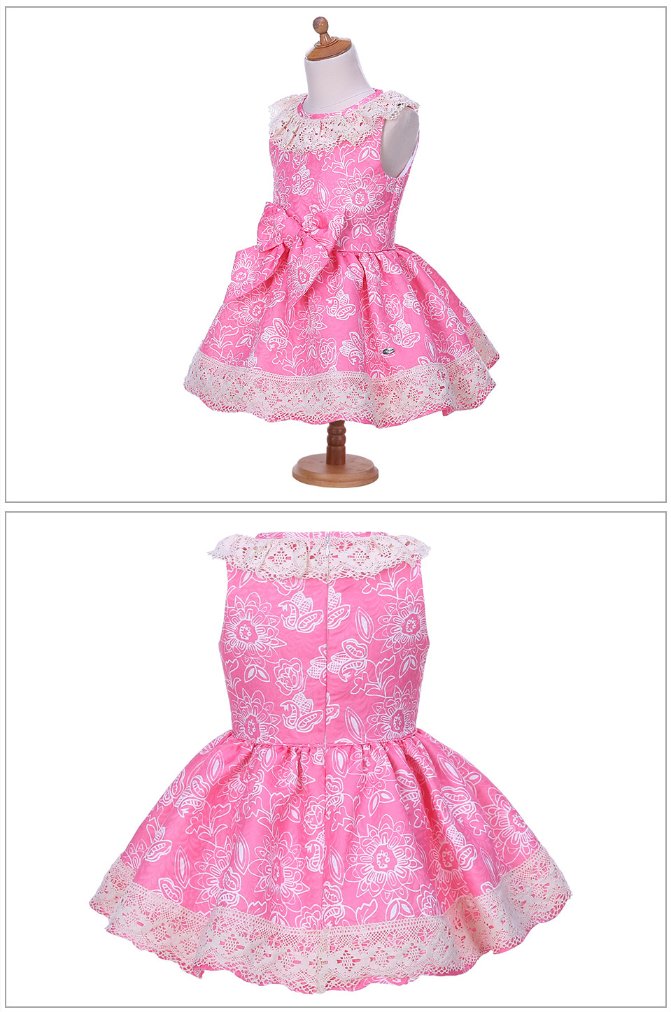e803b4d45bdf0 Mareya Trade - Pettigirl Pink Flower Print Girl Dress Lace Collar ...