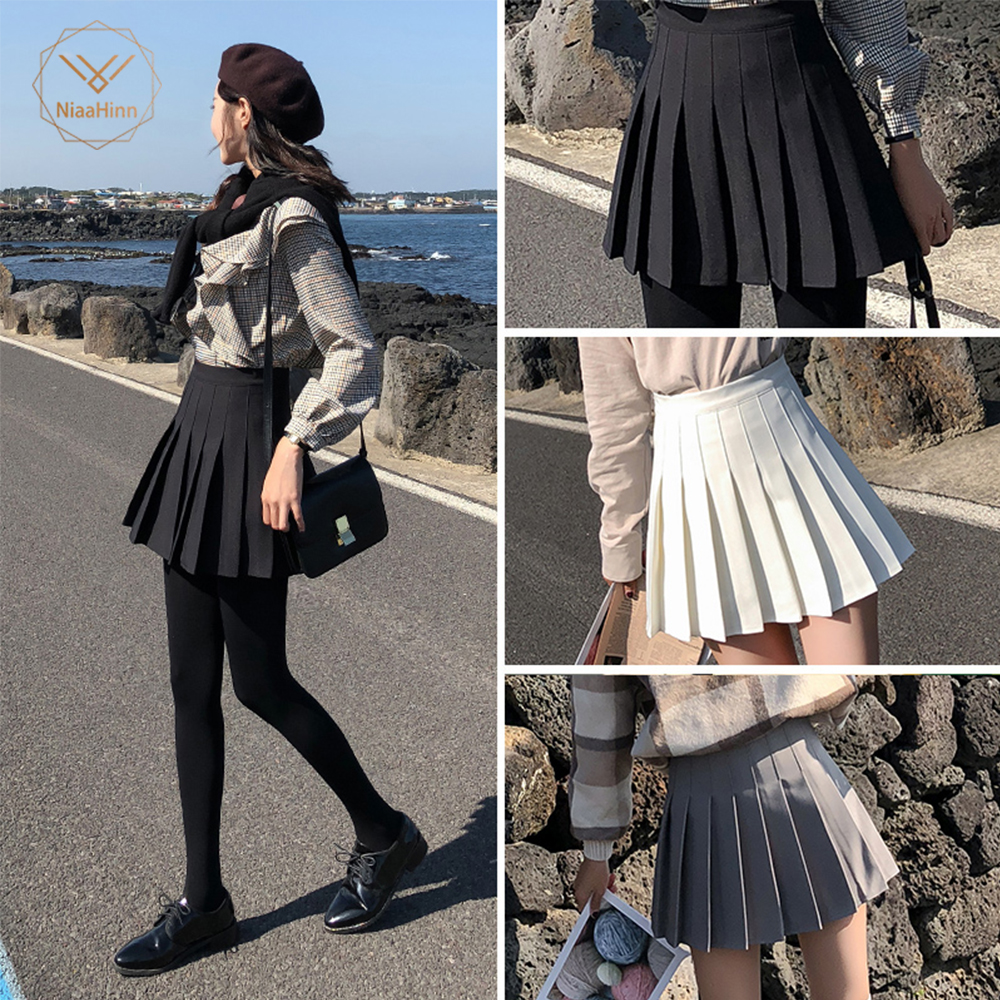 Pleated-Skirt Fabric Black Sweet-Style School-Patterns Preppy Large-Size Women Summer