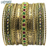 Antique Gold Plated Retro Green Wooden Indian Bracelets Bangles Wholesale Fashion Jewelry Unique Pulseira Feminina