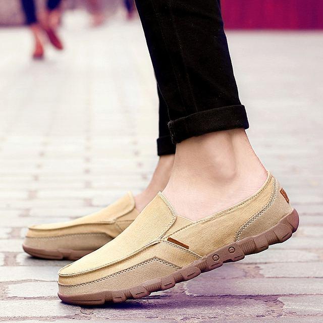 Summer Men Canvas Shoes Men's Fashion Solid Comfortable Casual Shoes Men Lace-up Light Summer Loafers Shoes Plus Size 38-48