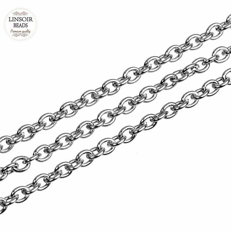 10 jardas/rolo 1mm 1.5mm 2mm 2.5mm 3mm largura tom de prata aço inoxidável metal link chain para colares pulseiras jóias fazendo