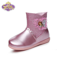Disney Princess Sophia Winter Snow Boots Pu Leather Waterproof Boots Ankle Boots Heels Shoe Martin Girl