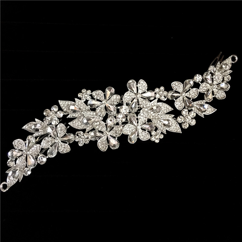 2016 New Clear Flower Rhinestone Crystals Wedding Bride Bridal Floral Hair Combs Head Pieces Hair Pins Jewelry Accessories