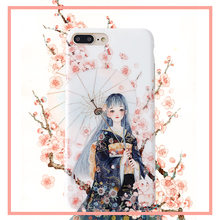 Kawaii anime phone case for iPhone 8 7 6s 6Plus XR X XS MAX coque cute beauty girl figure pink cases cherry blossom flower cover(China)