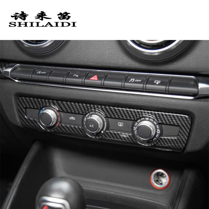 Carbon Fiber Central Console Knob Decorative Cover Sticker For Audi A3 2014-2018