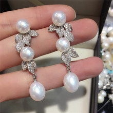 natural white freshwater pearl micro inlay zircon leaf drop earrings