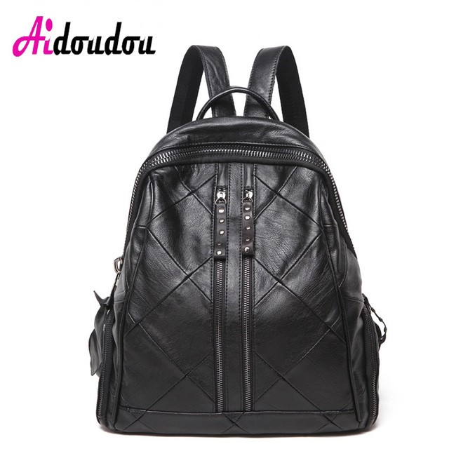 0c8d320f20ac AIDOUDOU BRAND Womens Backpacks Women S Leather Backpack Sheepskin + PU  Multifunction Shoulder Bag Double Zipper Plaid Flat Bag