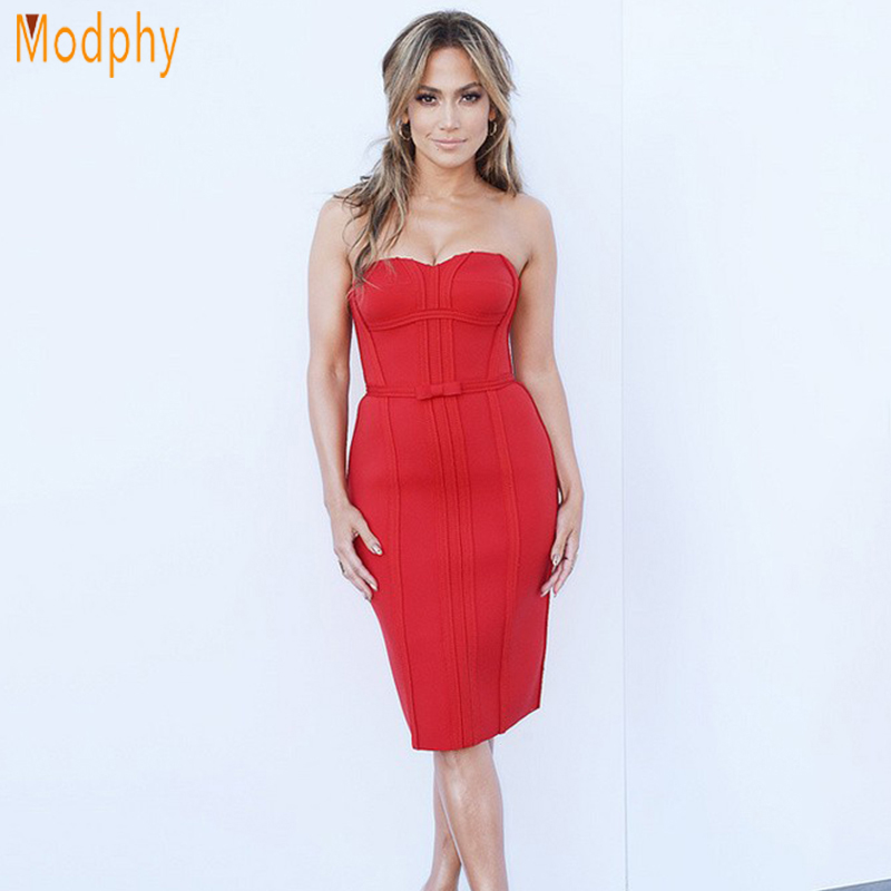 Celebrity Women Strapless Red Bandage Dress Bow Famous Movie Star Runway Off The -5267