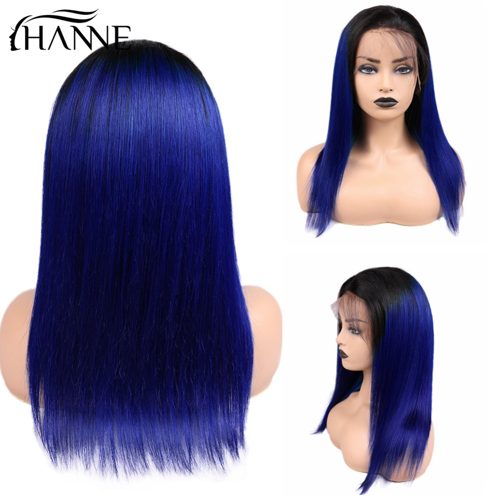 HANNE 13x4 Frontl Human Hair Wigs Plucked With Baby Hair Straight Brazilian Remy Hair Wig Ombre 1B Pink/Blue/Red Color Free Ship
