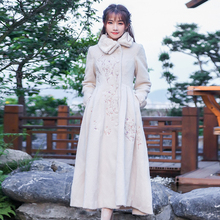 2017 Winter Women Coat Vintage Retro Embroidery Single Breasted Fur Collar Woolen Outerwear Coat real photo