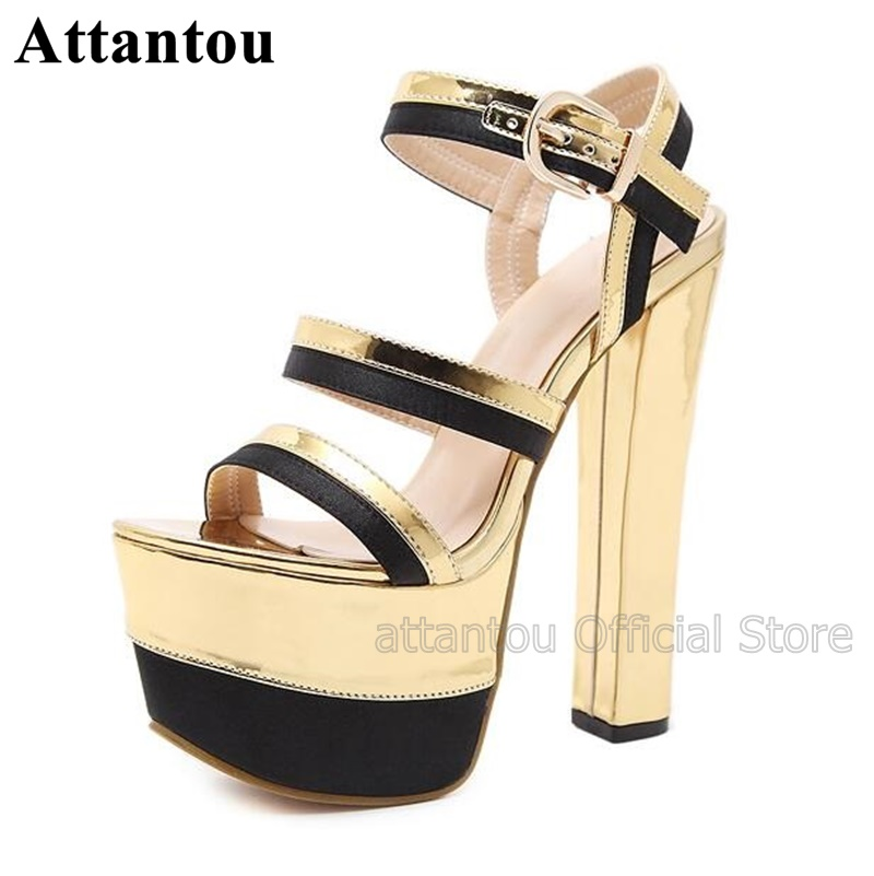 New Arrival 16cm Heeled Golden Leather Thick Platform High Heel Sandals Women Open Toe Thick Heels Cut Out ShoeNew Arrival 16cm Heeled Golden Leather Thick Platform High Heel Sandals Women Open Toe Thick Heels Cut Out Shoe