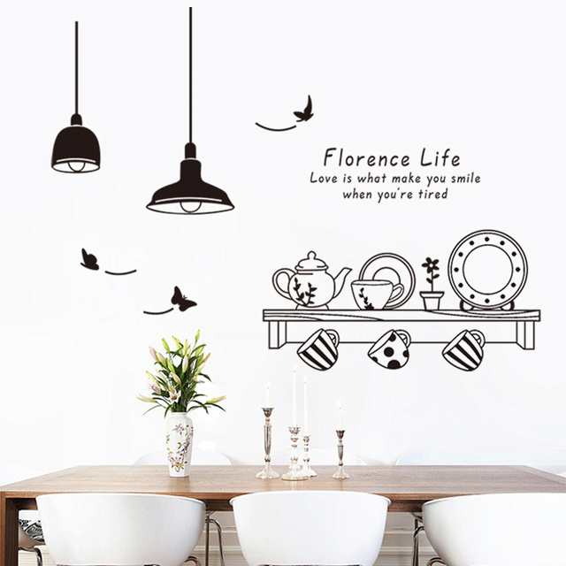 Disk Cup Lamp Pattern Wall Stickers Dining Room Decoration Diy Mural Art  Kitchen Home Decals Posters