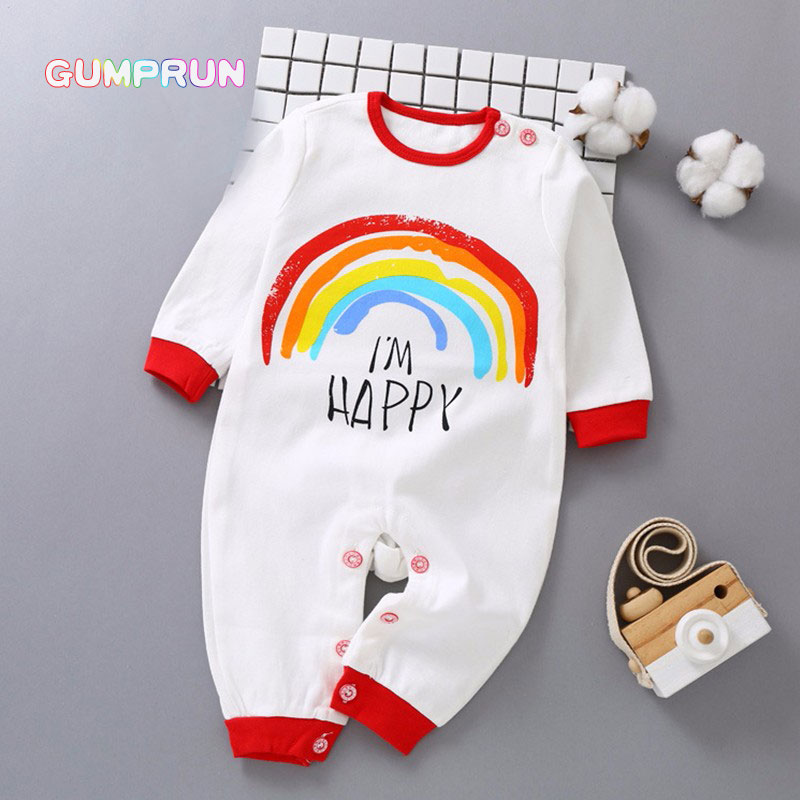 Winter Newborn Baby Romper Cartoon Rainbow Print Baby Clothes Cotton Long Sleeve baby girl clothes Warm Infant baby jumpsuit summer baby clothes babys romper newborn toddler infant baby boy girl letter print short sleeve jumpsuit romper clothes je13 f