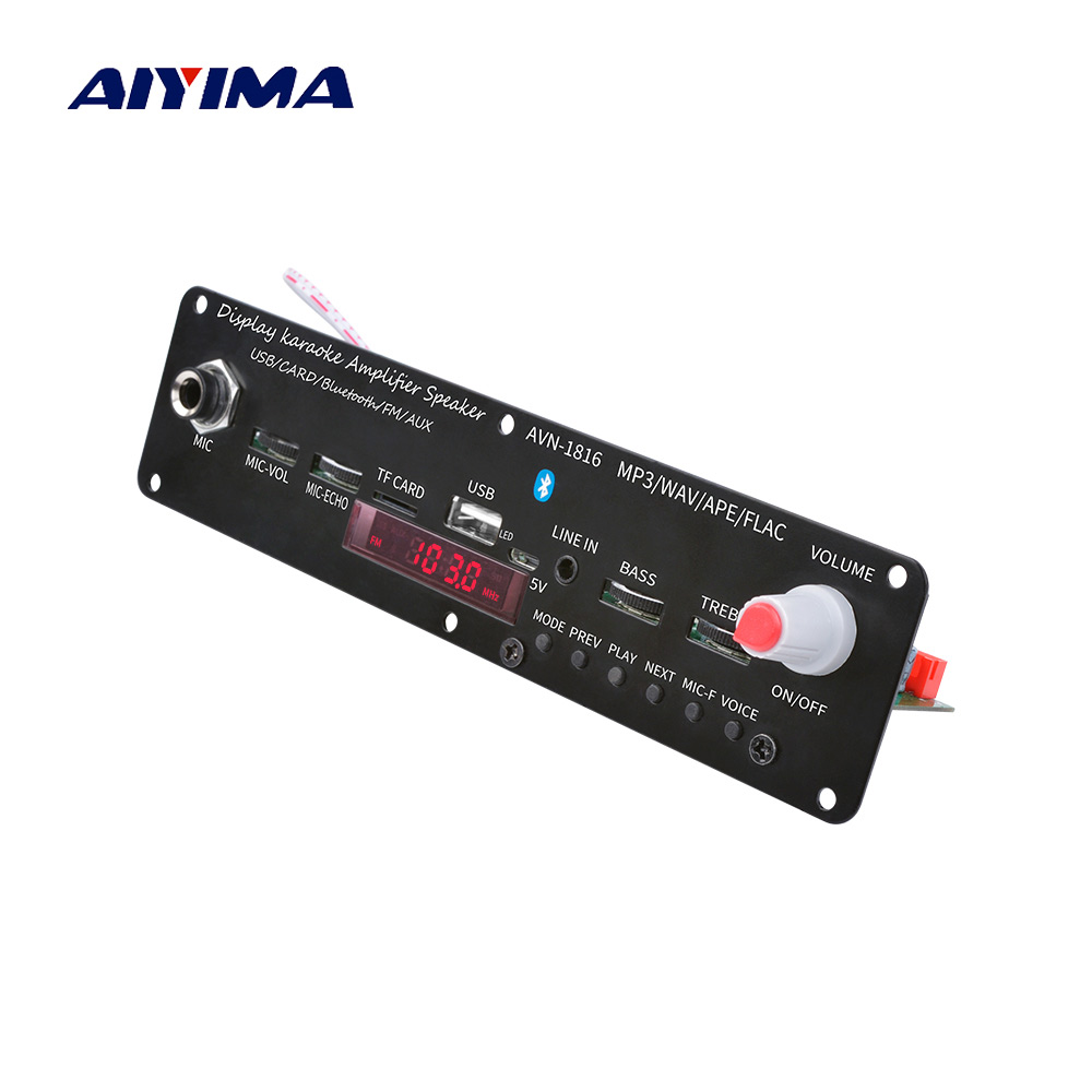 AIYIMA 3.7V Bluetooth Amplifier 20W Microphone Karaoke Reverberation Amplifier Support AUX FM MP3 WAV APE FLAC USB TF Decoding