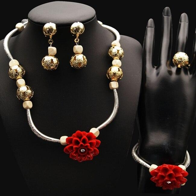 Livraison gratuite Dubai mariage bijoux fins Costume africain ensemble de bijoux couleur or bijoux de mariée ensembles de collier de fête ensembles