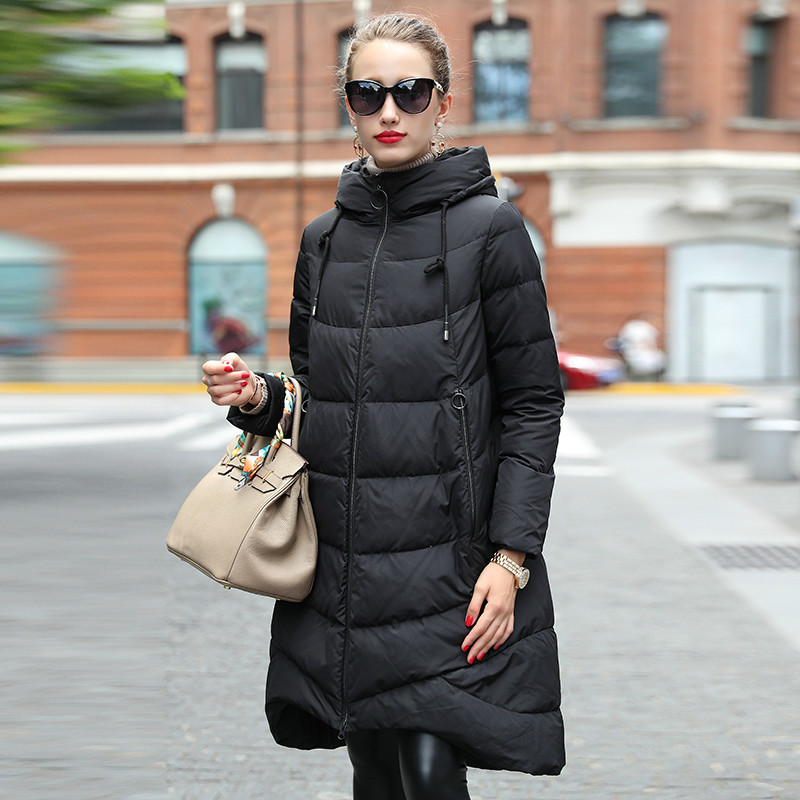 OLN Women Down Coat High Quality Fashion Loose Black Down Jacket Luxury Female Plus Size Hood Overcoat 2017 Winter Thicken New