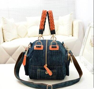 2015 new spring denim canvas bag casual handbag shoulder bag Messenger bag packet versatile mention