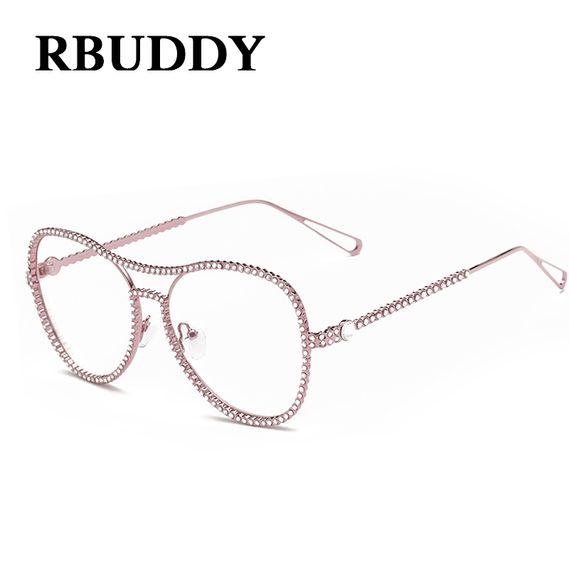 rbuddy luxury women glasses frame rhinestone glasses frame women brand metal glasses clear lenses oversized eyeglasses frames
