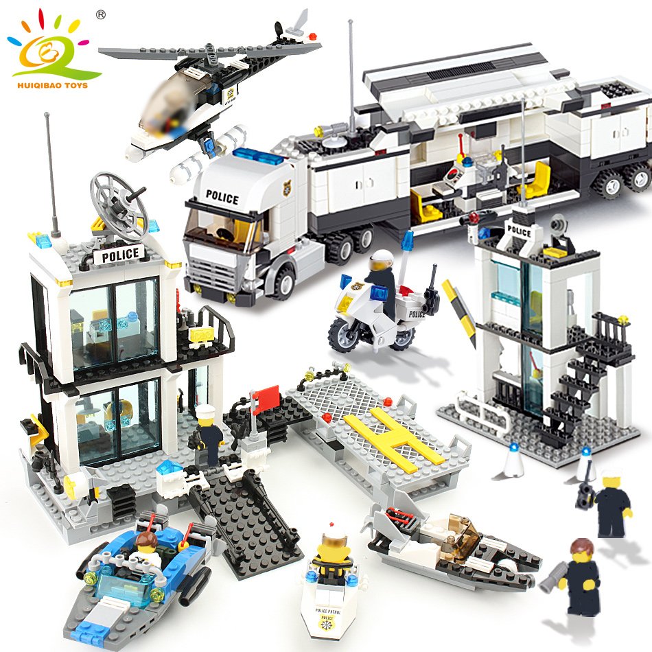 KAZI 536pc Police Station Building Blocks Helicopter Boat Model Bricks Toys Compatible famous brand brinquedos Birthday Gift6726 call of duty advanced warfare army