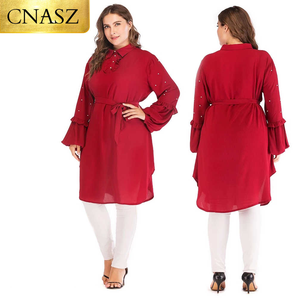 Muslim fashion 6XL long sleeve chiffon tops  islamic clothing women plus size tops for ladies