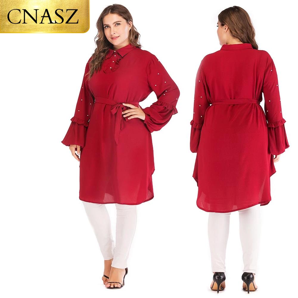 Muslim fashion 6XL long sleeve chiffon tops  islamic clothing women plus size tops for ladies