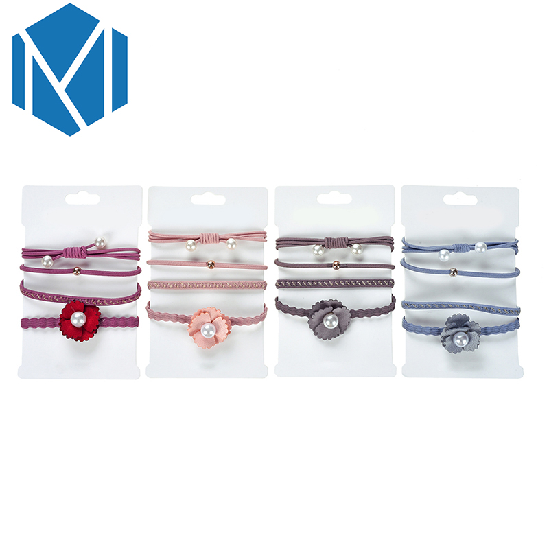 M MISM 4PCS/Set Girls Flower Elastic Rubber Hair Bands Pearl Rhinestone Solid Ponytail Holders Braid Simple Hair Gum Accessories