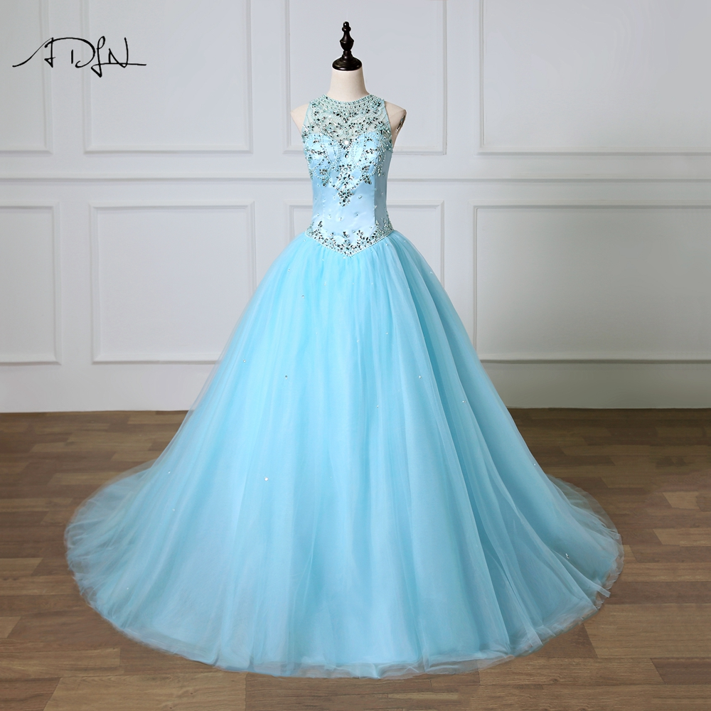 ADLN Elegant Blue Quinceanera Dresses O-neck Delicate Pearls Vestidos de 15 Anos Soft Tulle Ball Gown Sweet 16 Dresses
